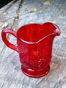 Vintage Avon Creamer Pitcher Ruby Red Cape Cod Style