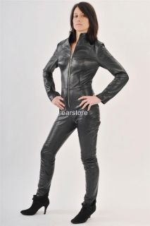 New Black Genuine Lambskin Leather Catsuit Sexy Costume Club Wear Size
