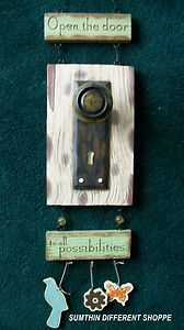 Folk Country Art Open Door Policy Distressed Sign Welcome Plaque Home