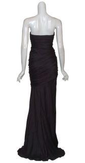 Carmen Marc Valvo Black Silk Petal Strapless Evening Gown Dress 6 New