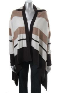 Cece New Multi Color Cashmere Striped Long Sleeve Open Front Cardigan
