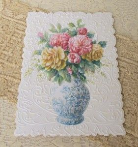Carol Wilson Feminine Birthday Greeting Card Blue Vase Flowers