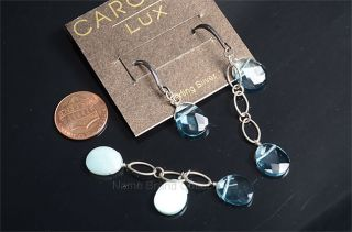 Carolee Sterling Silver 925 Faceted Blue Stone Hook Post Earring