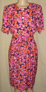 Caroline Wells Collection Colorful Floral Print Dress Size 6