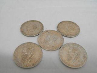 of 5 Mexican Cinco Pesos Silver Coins Hidalgo & Carranza .720 Silver