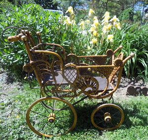 Elaborate Victorian Fancy Wicker Baby Doll Carriage