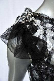 DE VILLACIS *Custom* Zebra Sequin Carrie Underwood Dress One Shoulder
