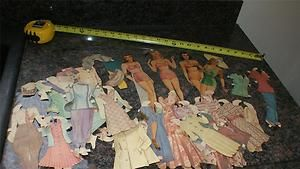 Huge Lot Vintage 1940s Stylish Paper Dolls with Clothes Bathing Suits