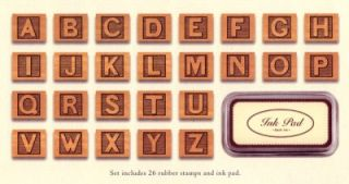 cavallini abc alphabet blocks rubber stamp set new