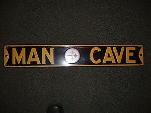 Man Cave Street Sign Metal Pittsburgh Steelers 36 x 6