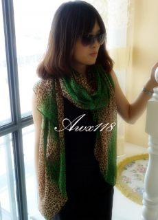 New Fashion Women Girls Leopard Print Long Gradient Color Scarf Wrap