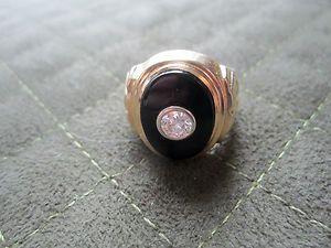 MENS 45CT G SI1 14K YELLOW GOLD BLACK ONYX CENTER DIAMOND RING