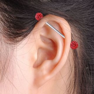 Long Industrial Barbell Ear Cartilage Ring Steel Bar Piercing