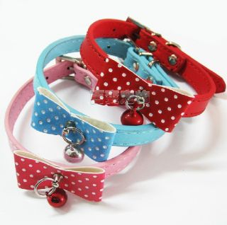 Collar PU Leather Dog Collar Cat Ring Bell Puppy Small Dog Cat Collar