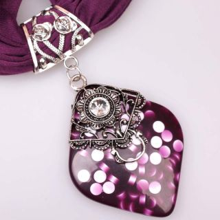 Graceful Ladies Long Scarve Shawl Alloy Rose Fashion Gemstone Pendant