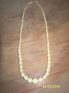 Vintage Faux Ivory Carved Roses & Beads Necklace hidden screw clasp