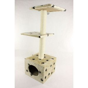 Beige Paw 92 cm 2 Level Kitty Cat Tree Furniture Scratcher House