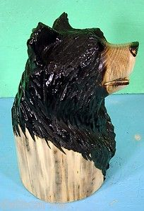 12 Black Bear Head Chainsaw Carving Rustic Cabin Decor Art Carved