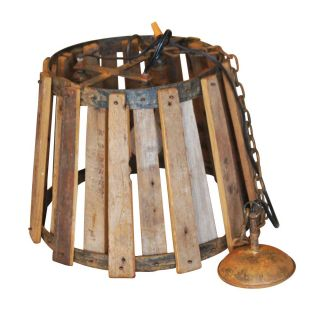 Vintage Industrial Wood and Metal Hanging Ceiling Lamp