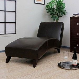New Modern Dark Brown Leather Chaise Lounge Chair