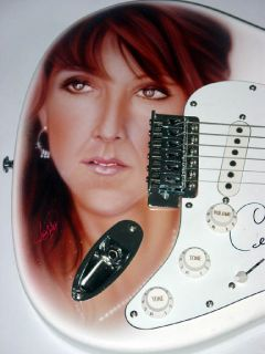 Celine Dion Autographed Airbrush Guitar Video Proof PSA UACC RD COA
