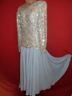 Oleg Cassini Black Tie Vintage Powder Blue 100 Silk Full Circle Beaded