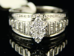 White Gold Marquise Style Center Diamond Engagement Ring 1 2 Ct