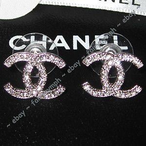 CHANEL CLASSIC Silver CC CRYSTAL Logo Stud Earrings NIB match your