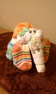 Elephant Diaper Cake Babyshower Centerpiece Girl Baby Shower Gift