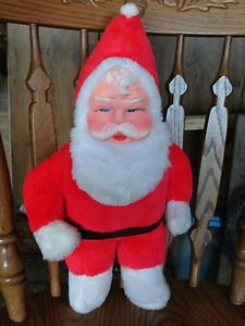 Vintage 1950s Musical Santa Claus 18 Stuffed Body Rubber Face