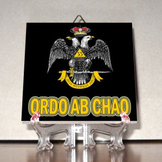 Ordo AB Chao Ceramic Tile Masonic Double Headed Eagle Freemasonry