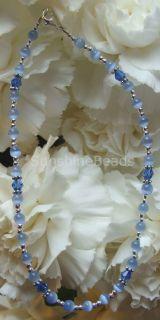 Blue Crystal Cats Eye Bracelet or Ankle Bracelet 2774
