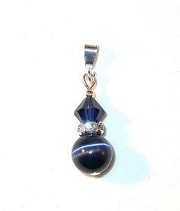 Swarovski Crystal Elements Catseye Sterling Silver Pendant Indigo Navy