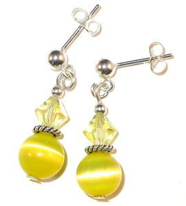 Swarovski Crystal Elements Catseye Sterling Silver Earrings Jonquil