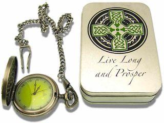 Celtic Get The Edge® Knotwork Irish Cross Lighter Pocket Watch Set w