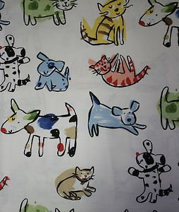 Cartoon Dogs Cats Shower Curtain Kids Colorful Pets Fabric Saturday