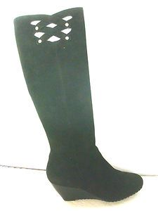 Charles David Black Womens Knee High Boots Black Suede Size 6 5 M