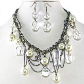 Chunky Dangle Chain Pearl Crystal Fireball Earrings Necklace Set