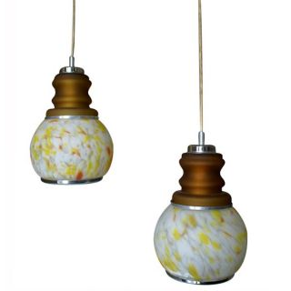 Mid Century Modern 2 Bulb Hanging Pendant Glass Light