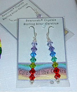 Chakra Earrings Rainbow Swarovski Crystals Sterl Silver