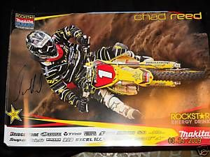 Chad Reed Signed Team Makita Suzuki Poster SX Champion