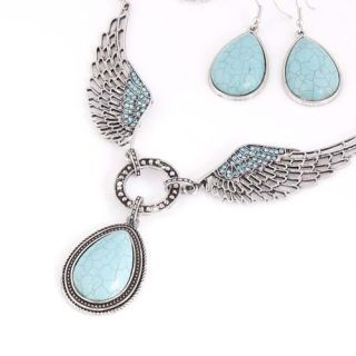 Tibetan Silver Plated Turquoise Gemstone Pendant Necklace Earrings