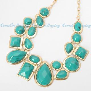Fashion Golden Chain Water Drop Sea Green Cloud Resin Beads Pendant
