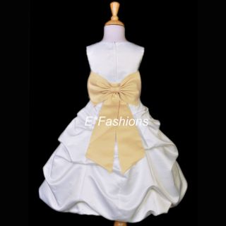 Ivory Champagne Wedding Bridal Communion Flower Girl Dress 2 4 6 7 8