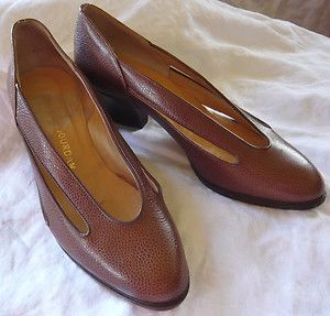 CHARLES JOURDAN vintage 80s brown pebbled leather pumps with cutouts