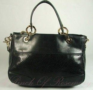 Charles David Sydney Leather Small Satchel Bag Purse Black