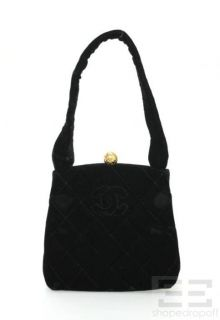 chanel black quilted velvet small frame handbag
