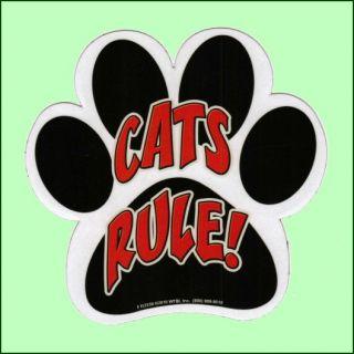 Humorous Paw Print Cats Rule Car Fridge Magnet New