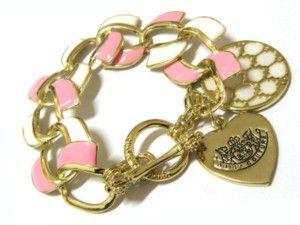 Antique Gold Heart Disc Charm Pink White Link Bracelet