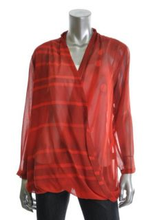 Vena CAVA New Discman Red Polka Dot Striped Faux Wrap Long Sleeve